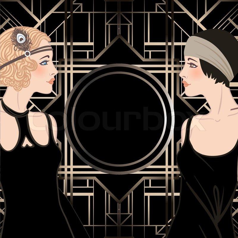 Flapper girl: Retro party invitation design. Vector illustration ...