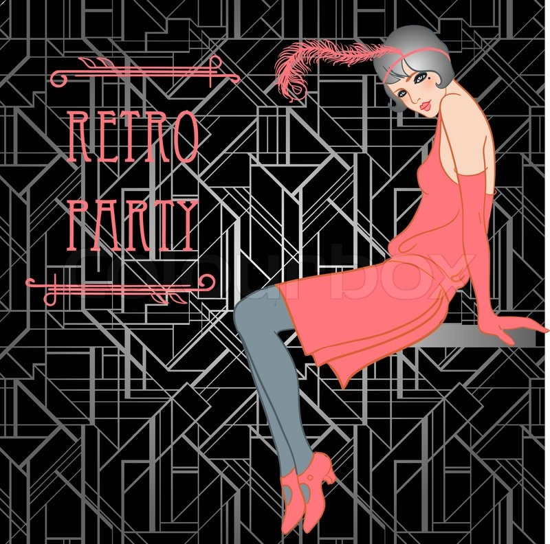 Flapper girl retro party invitation design vector illustration flapper girl retro party invitation design vector illustration great gatsby style vector stopboris