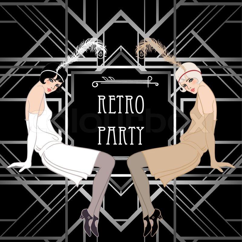 Flapper Girl Retro Party Invitation Stock Vector