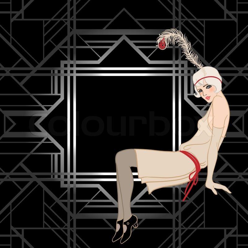 Flapper Girl Retro Party Invitation Design Vector