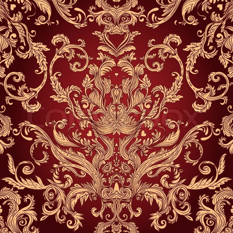 Vintage background ornate baroque pattern vector for Baroque style wallpaper