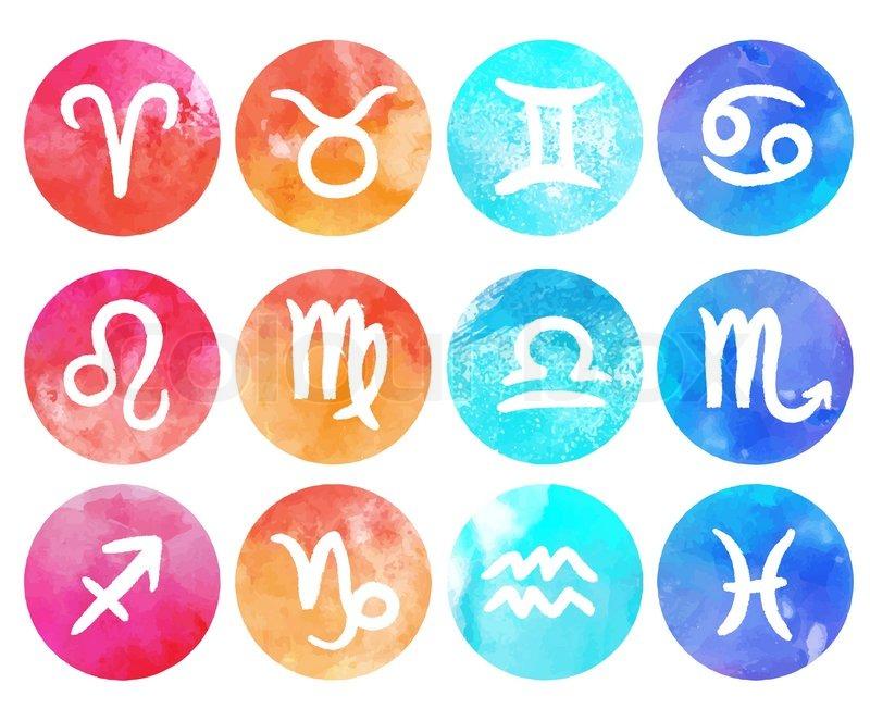 Watercolor Zodiac Icon Set Vector Stock Vector Colourbox