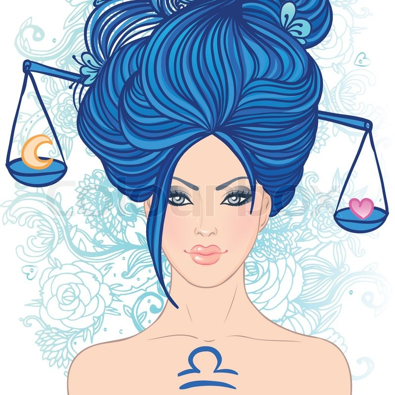 Illustration of libra zodiac sign as a beautiful girl ...