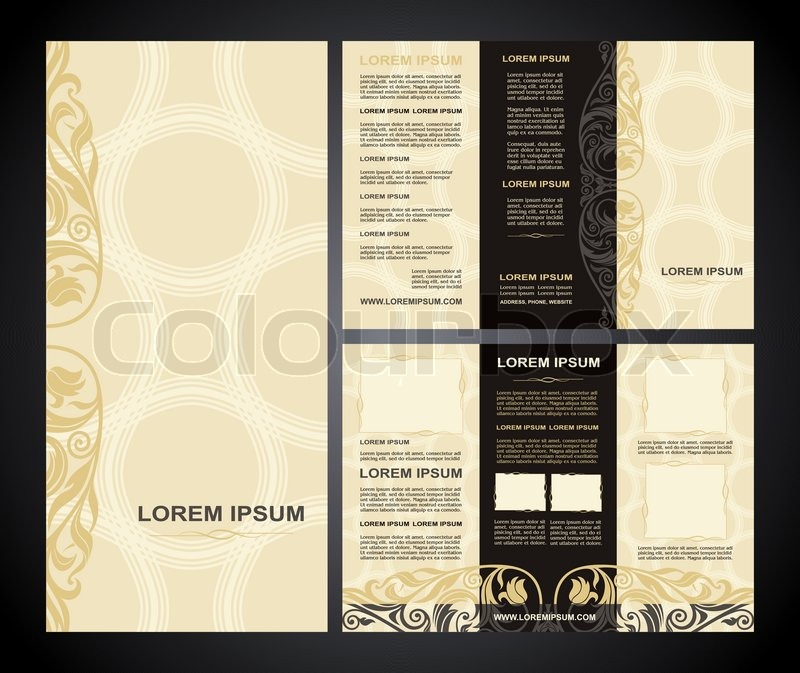 Vintage Style Brochure Template Design With Modern Art Elements And