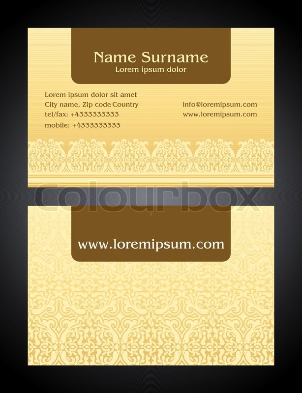 Business card creative design bright elegant style print front and business card creative design bright elegant style print front and back samples templates in classic colors blank layout for your idea stock vector reheart Images