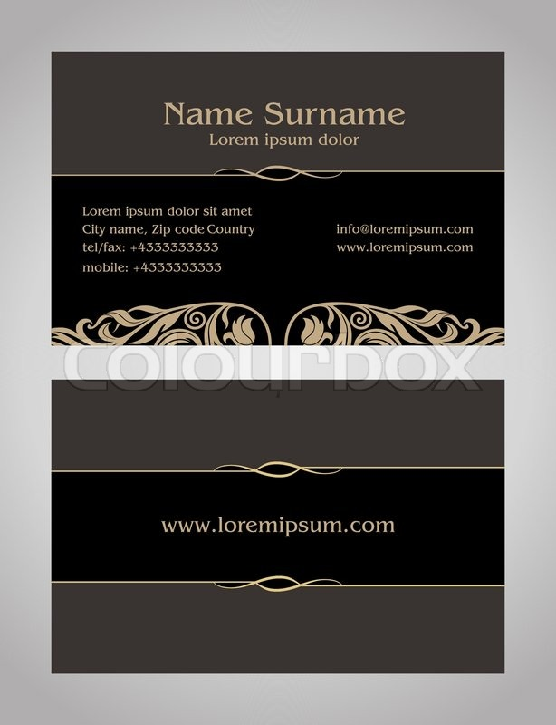 Business card creative design vintage elegant style print front business card creative design vintage elegant style print front and back samples luxury templates in classic colors blank layout for your idea stock reheart Gallery
