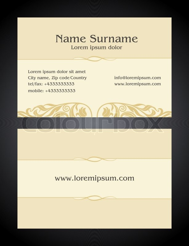 Business Card creative design, vintage, elegant style light print ...