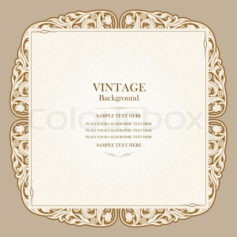 Vintage Background Elegant Wedding Invitation Card