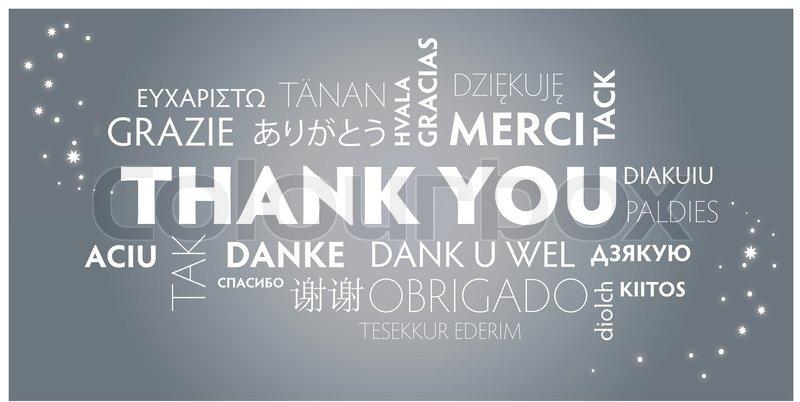Dank Danke Danke Schön Danke Sehr Stock Vector