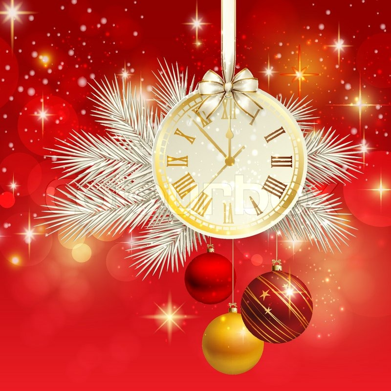new year vector background with gold clock stock vector colourbox