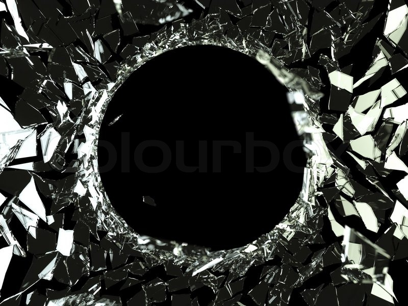 Bullet hole and pieces of shattered glass on black, stock photo