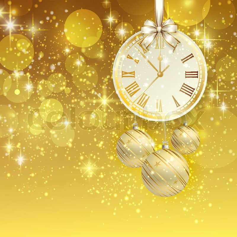 stock vector of new year vector background with golden clock