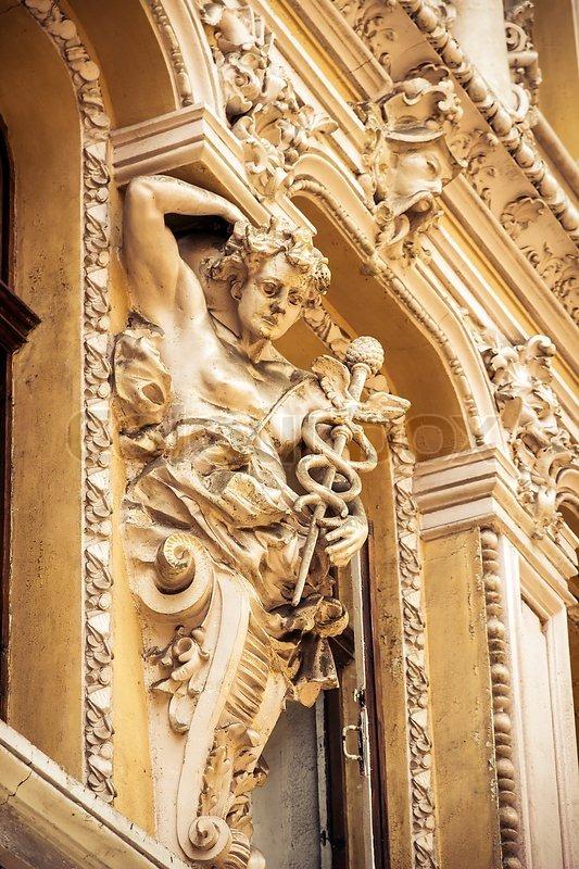 Vintage retro style - sculptures on the balcony of Odessa passage. Ukraine, stock photo