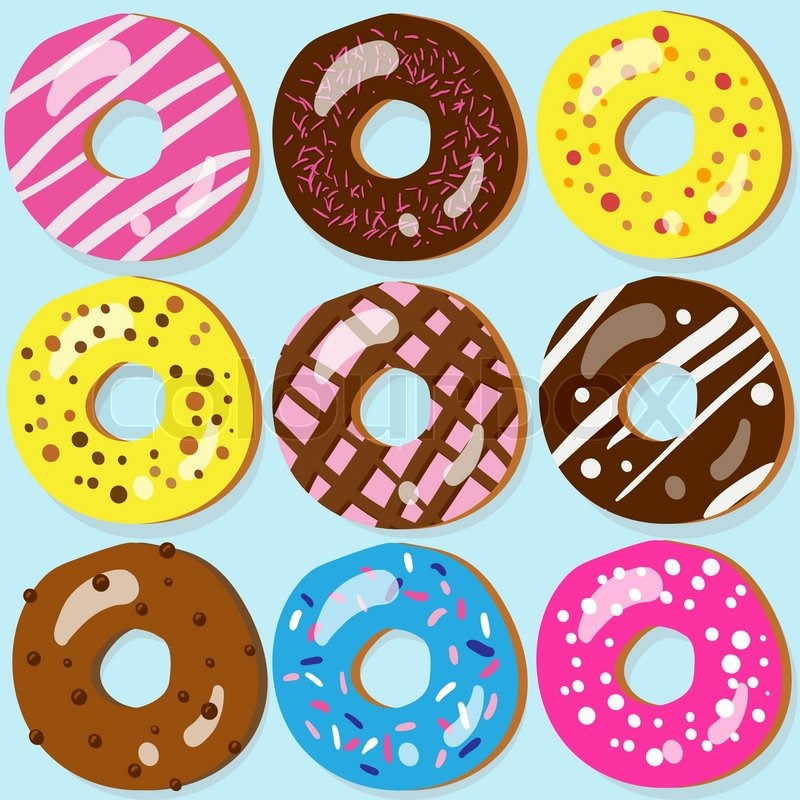 Cartoon Doughnut Factory: Set Of 9 Assorted Doughnut Icons With Different Toppings