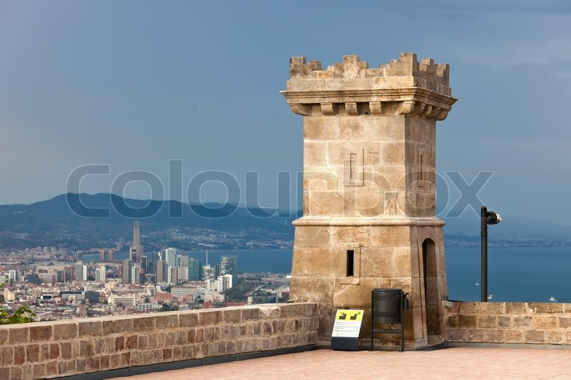 Stock image of 'Famous Castle of Montjuic in Barcelona, Spain'