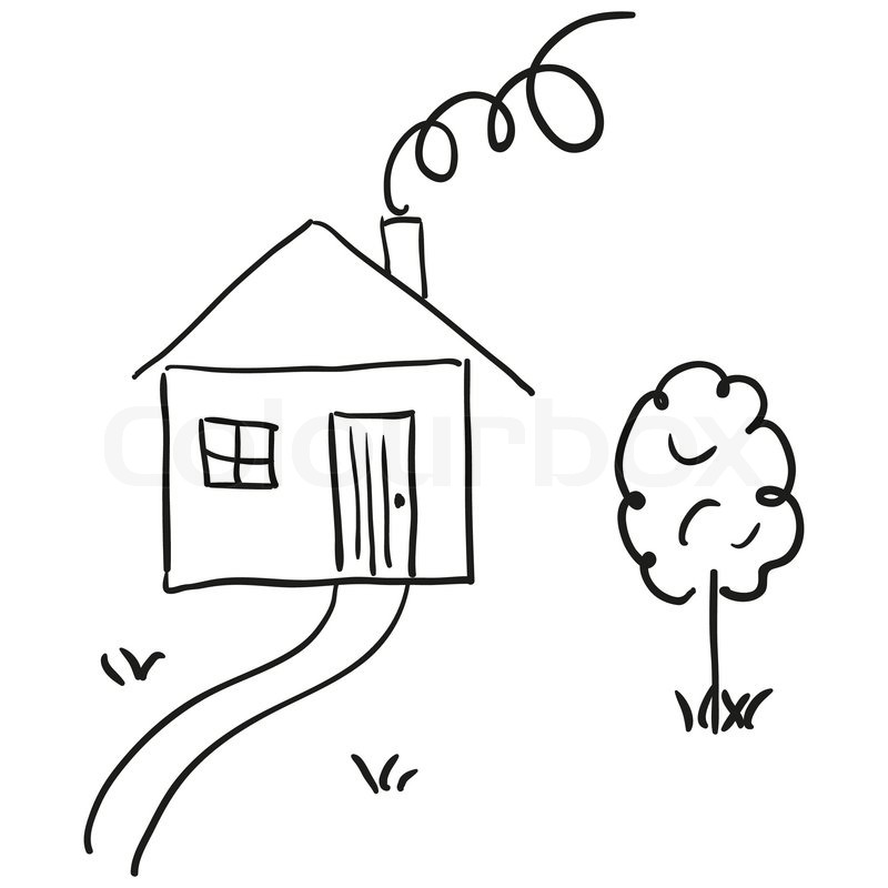 Line Art House Vector : Drawing of a house in cartoon style hand sketch