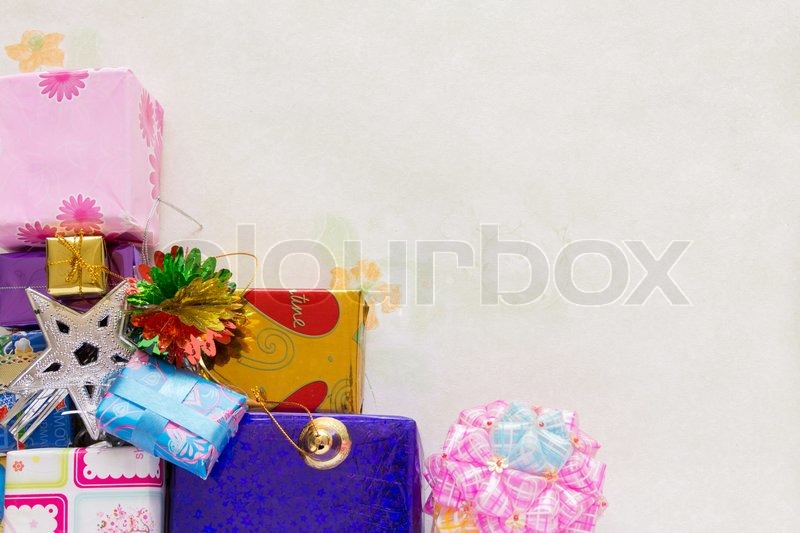 A stacking and decoration of present of holiday gifts over background, stock photo