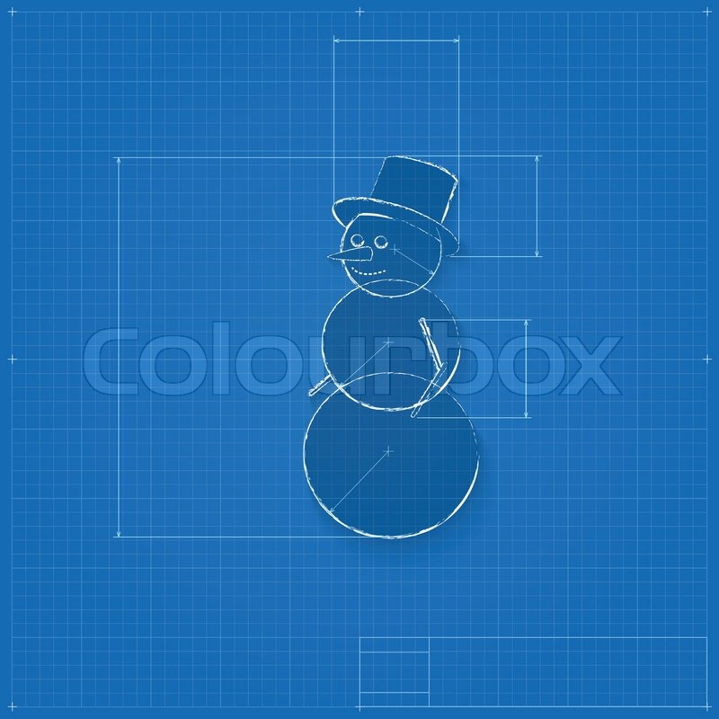 Snowman symbol drawn as blueprint stylized drafting of gift sign on snowman symbol drawn as blueprint stylized drafting of gift sign on blueprint paper vector illustration for holiday packaging supplies gift wrapping malvernweather Image collections