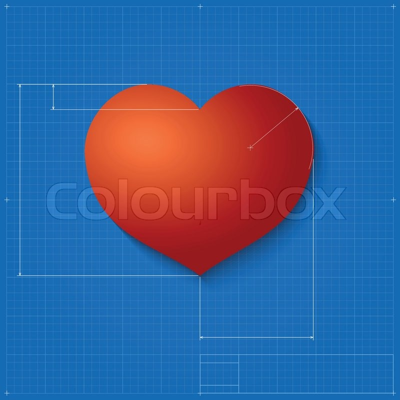 Heart symbol like blueprint drawing stylized drafting of gift heart symbol like blueprint drawing stylized drafting of gift sign on blueprint paper vector illustration for holiday packaging supplies gift wrapping malvernweather Images