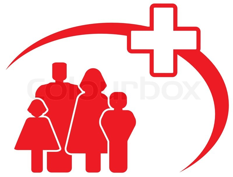 Red Symbol Medical Cross With Family Stock Vector Colourbox