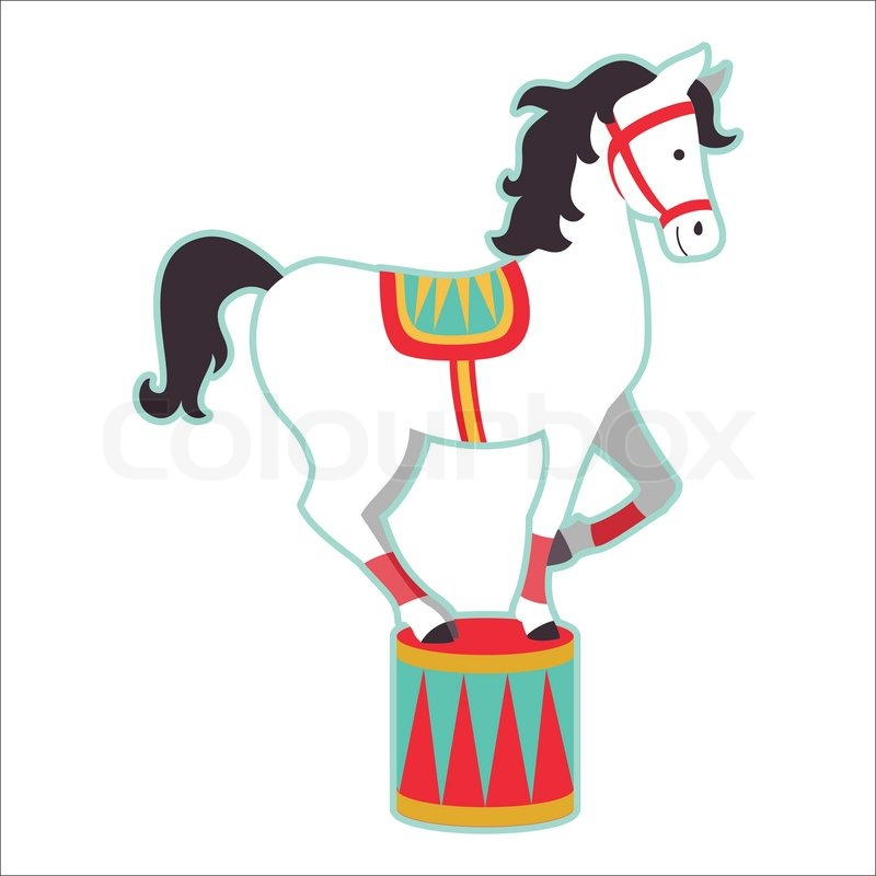 Retro Circus Animal Isolated Vector Character Horse