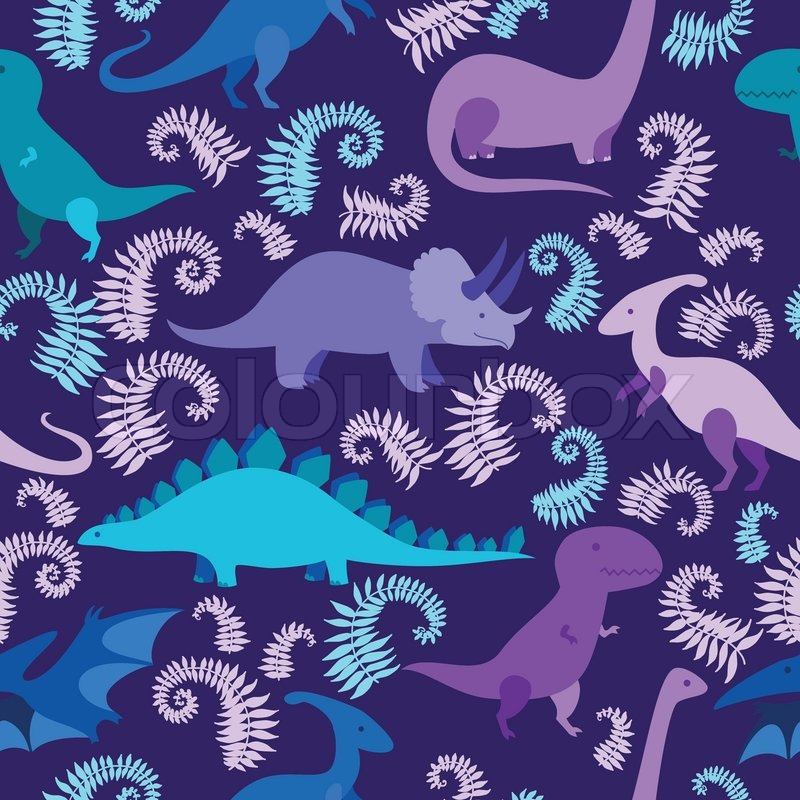 Cartoon dinosaur vector seamless pattern. | Stock Vector ...