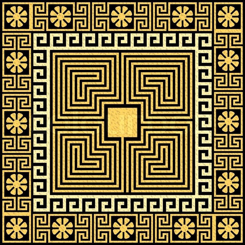set traditional vintage golden square greek ornament