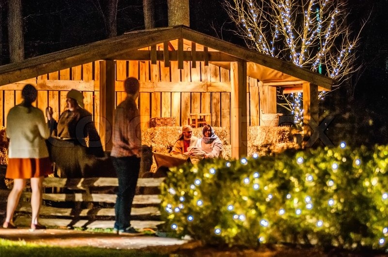 21 december 2013 charlotte nc visitors viewing live nativity play during christmas at billy graham library charlotte nc stock photo colourbox