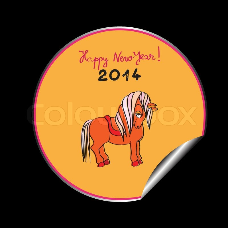 hand drawn illustration of a toy horse cartoon happy new year 2014 orange sticker isolated on black stock vector colourbox