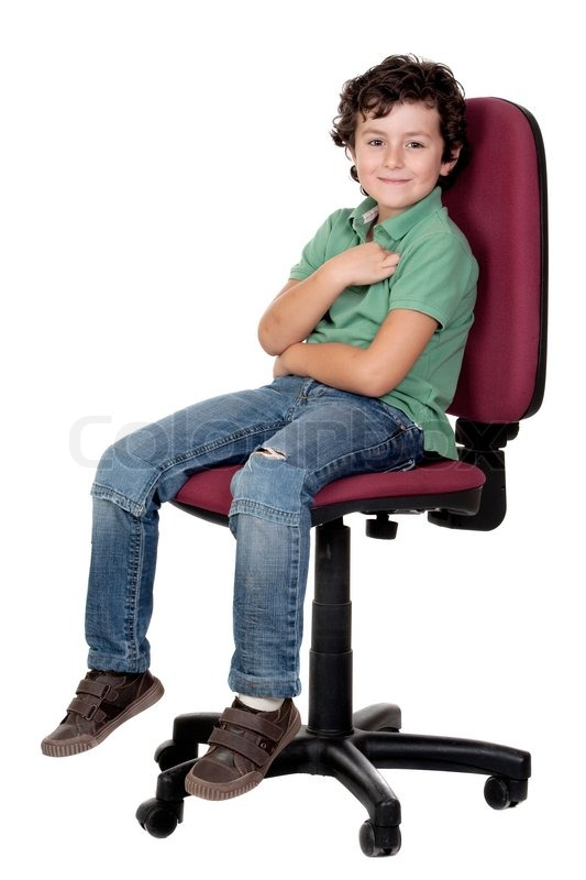 Adorable Little Boy Sitting On Big Stock Photo