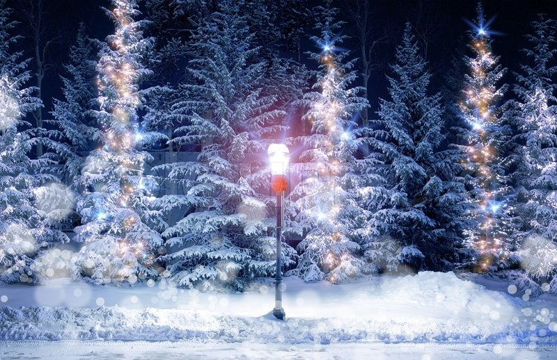 mysterious christmas alley with bright vintage style lamp post and