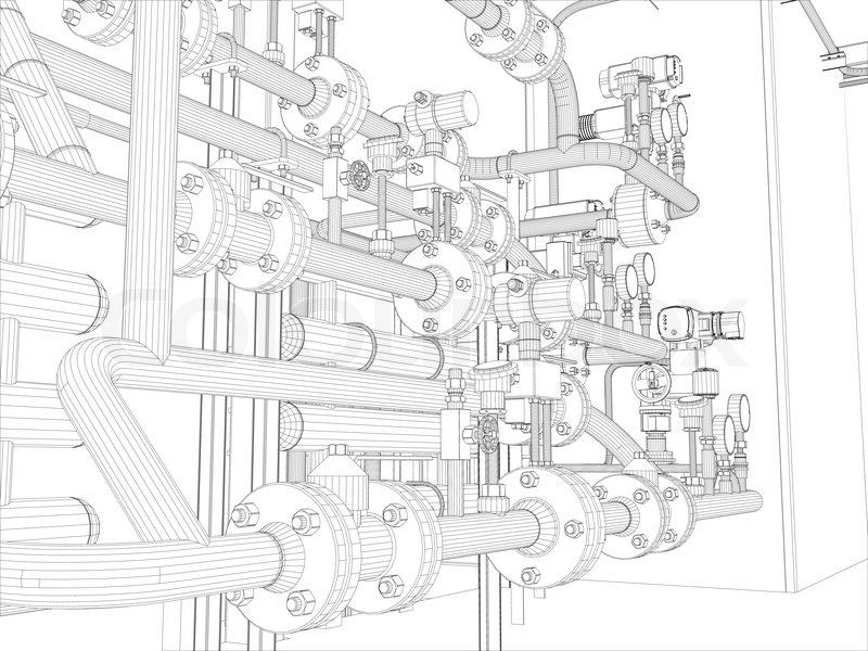 Industrial equipment. Wire-frame. Vector EPS10 format. Vector ...