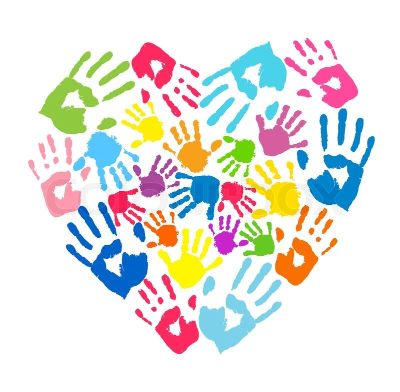 heart of the handprints of father  mother and children baby handprint clipart free handprint border clip art free