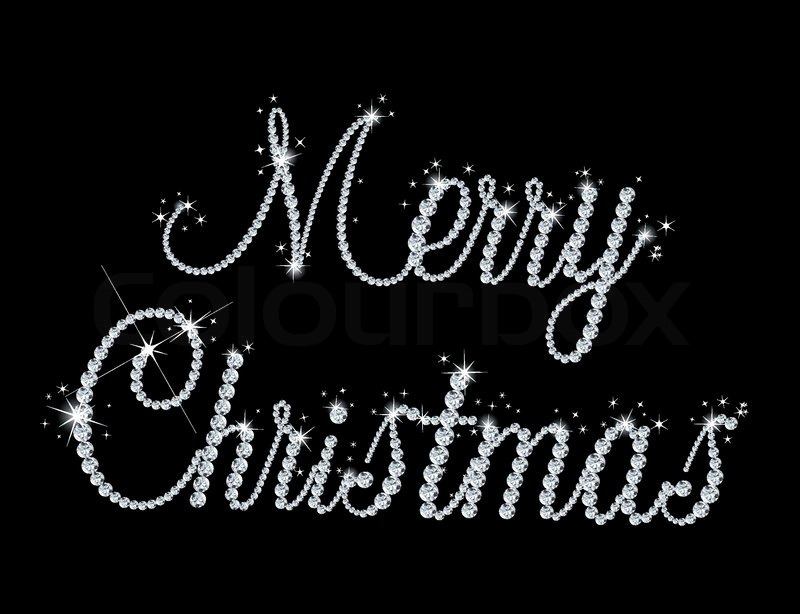 Illustration of Merry Christmas text with diamond. Vector ...