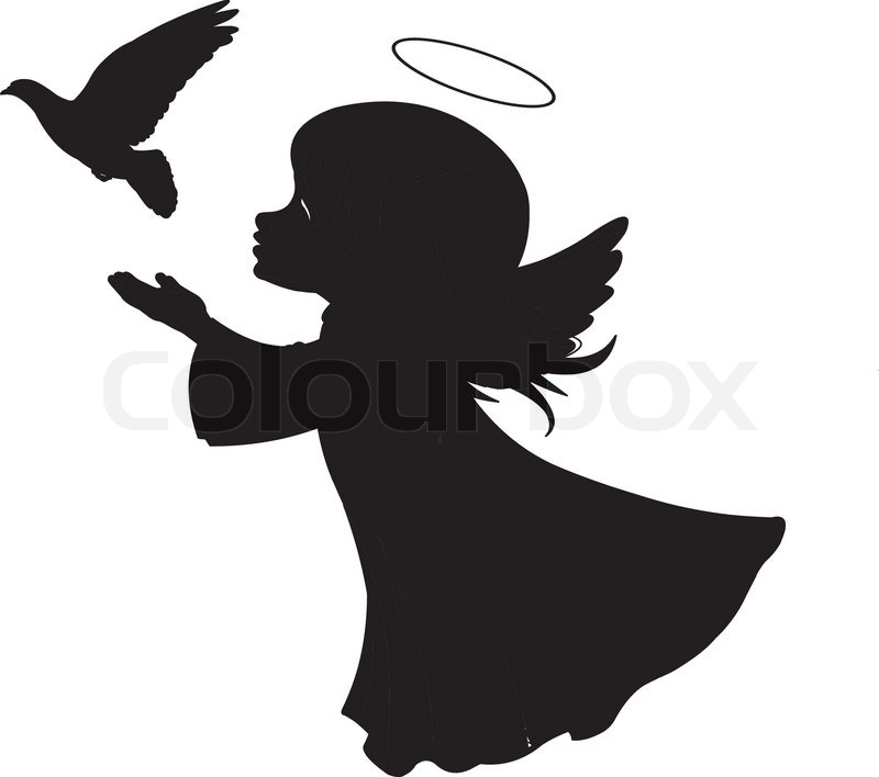 silhouette of a angel with dove stock vector colourbox child praying clipart image muslim child praying clipart