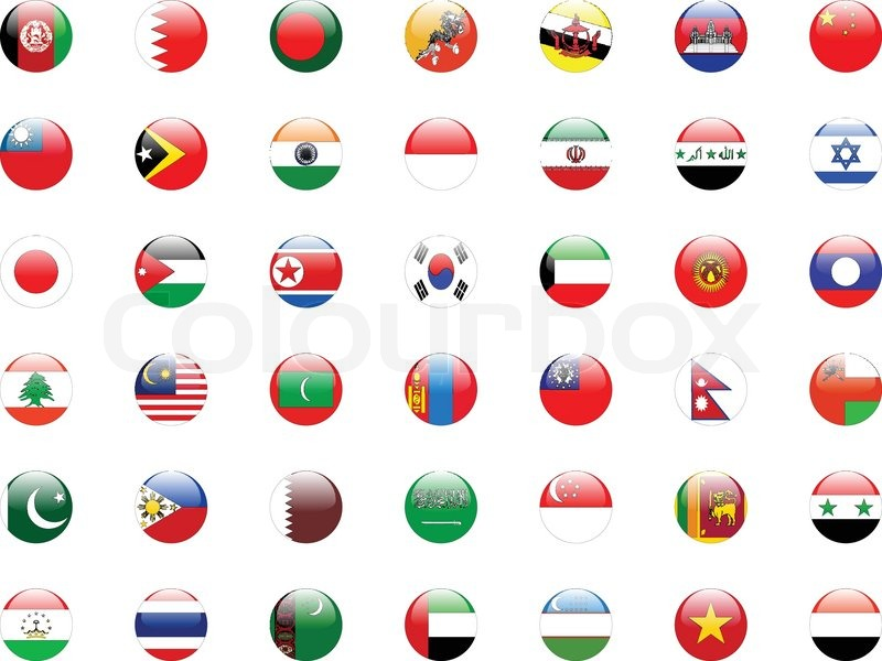 buttons with asian country flags vector stock vector colourbox