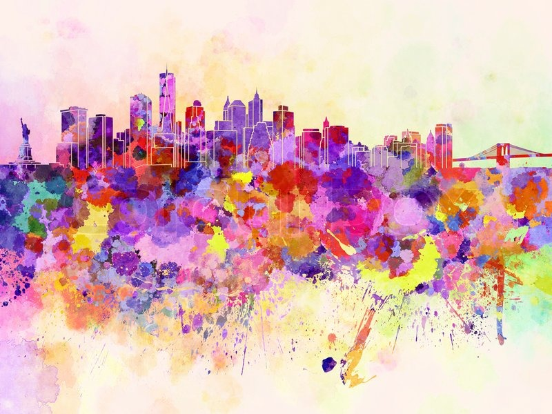 New York skyline in watercolor background | Stock Photo ...