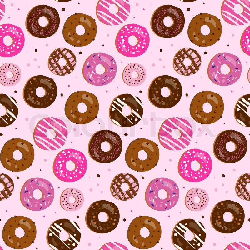 Seamless Vector Pattern Of Assorted Doughnuts With