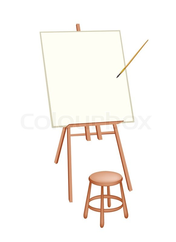 Exhibition D Vector : Wooden easel with blank canvas and craft paintbrush or