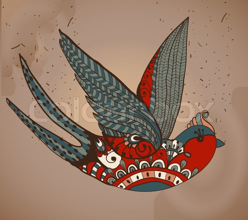 Old School Style Tattoo Swallow Vintage Valentine Illustration For Holiday Design
