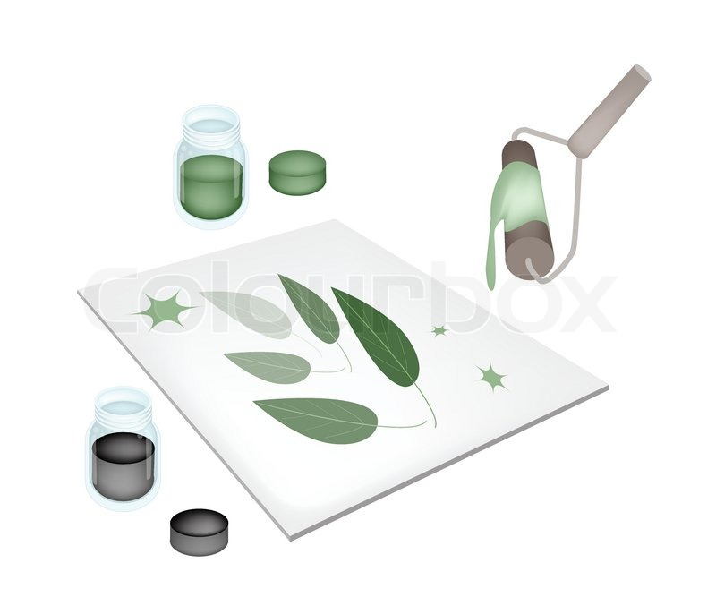 Relief Process Artist Screen Printing Green Leaves By Paint Roller And Ink On Print Device