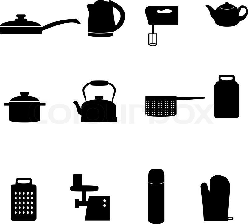 Cons of different types of kitchen appliances   Stock Vector   Colourbox