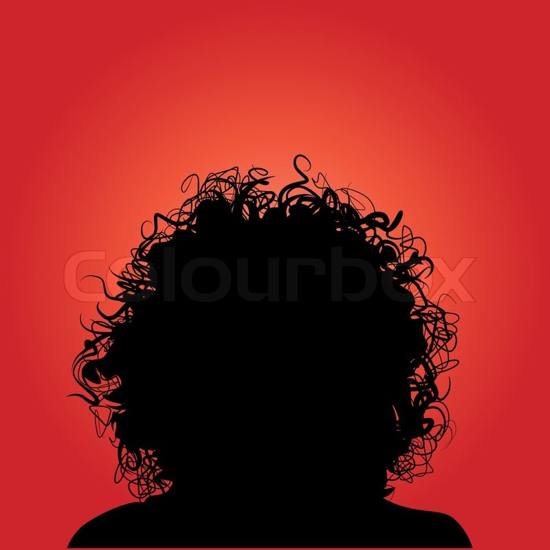 Quot Vector Silhouette Of Woman Curly Hair Quot Stock Vector