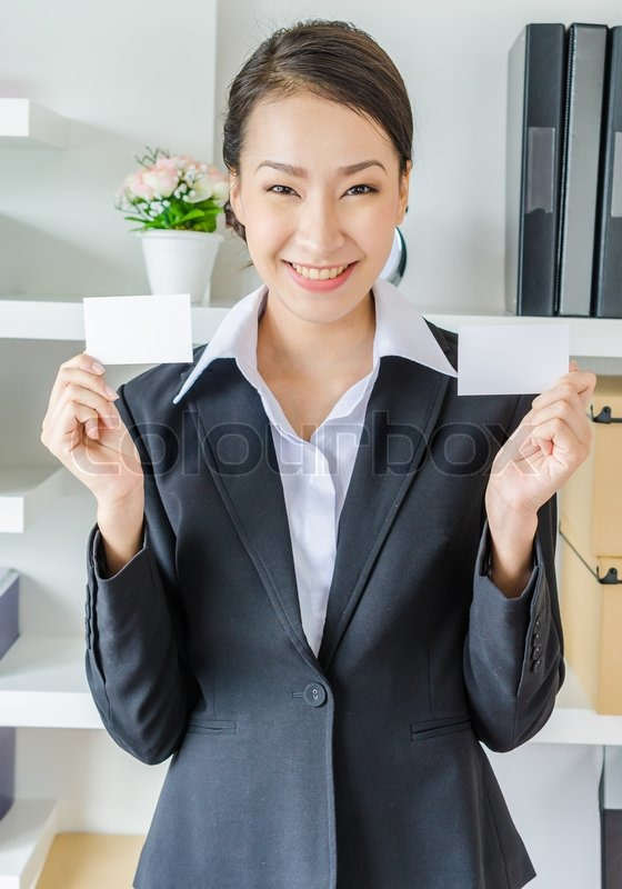 Young business show empty card, stock photo