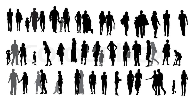 Drawing Lines Shapes Or Text On Bitmaps : Set of silhouette walking people and children vector
