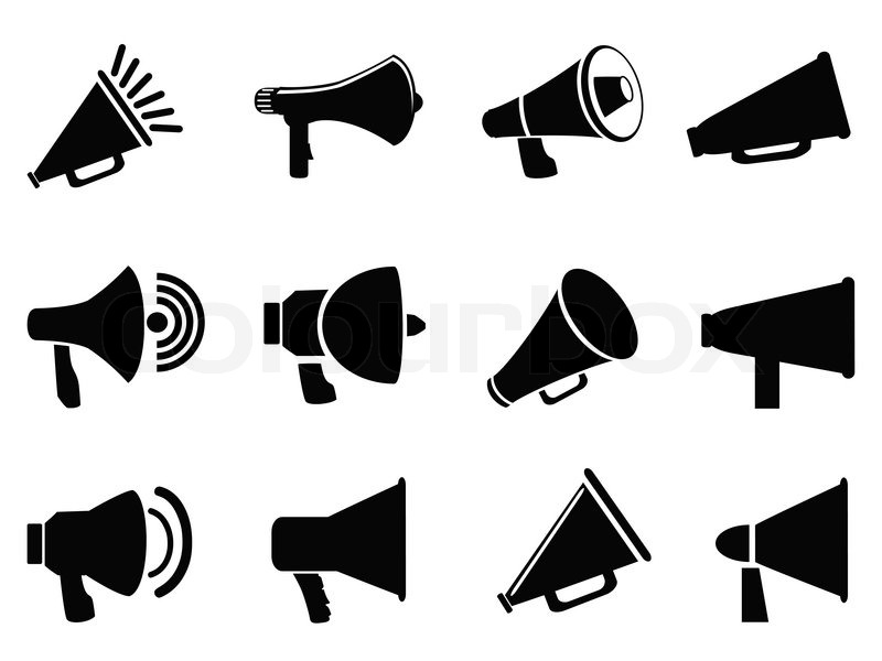 isolated black megaphone icons from white background stock vector rh colourbox com megaphone vector free download megaphone vector graphics