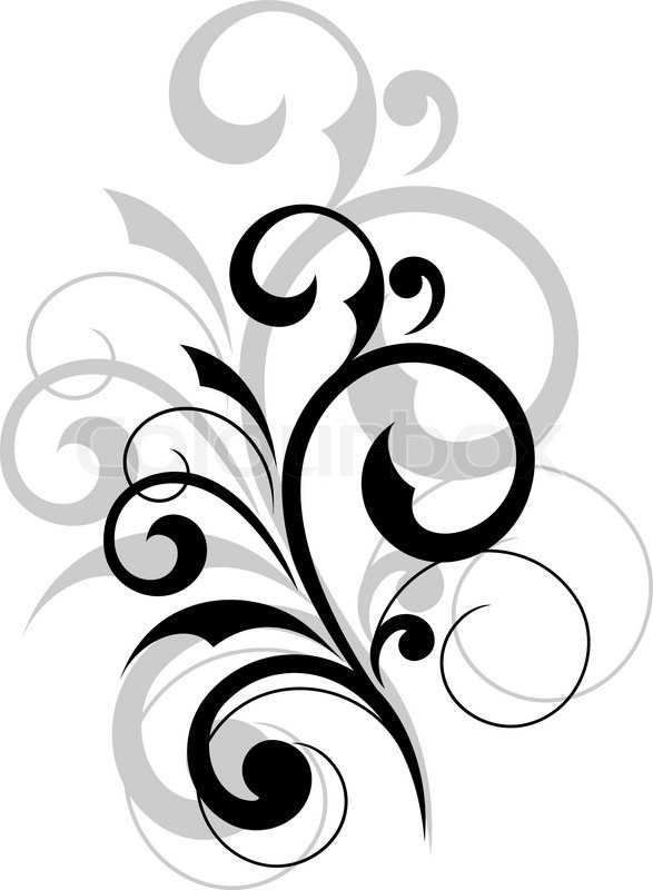 Elegant scrolling foliate design element on white ...