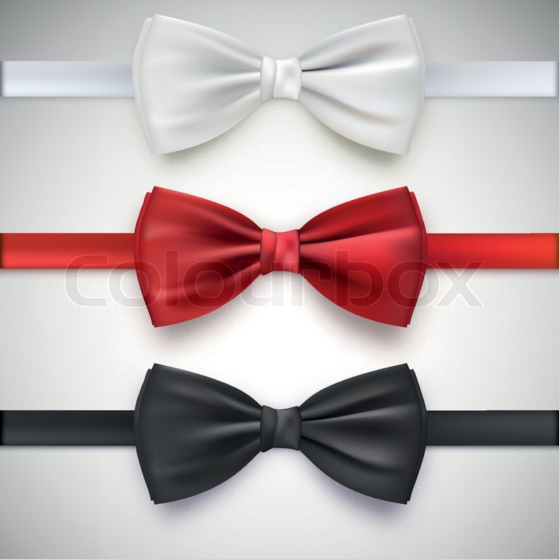 401fc1b9 Realistic white, black and red bow ... | Stock vector | Colourbox