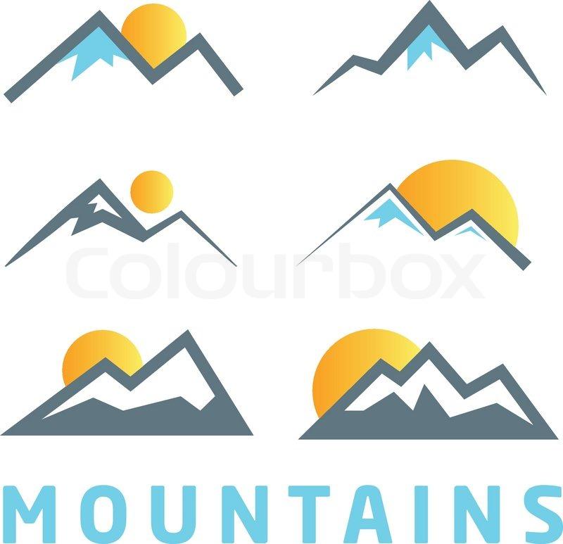 mountain icon collection mountain logo design elements