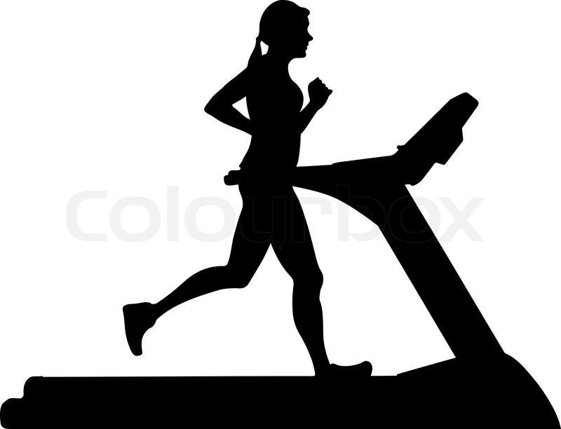"illustration of a woman running on a treadmill"" | Stock Vector ..."